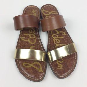 SAM ELDEMAN : Gala Gold Leather Slides Size 9